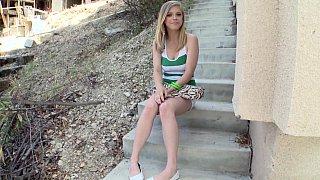 Cute blonde teen posing before anal
