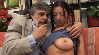 Old man fucking 18 years girl with big beautiful natural tits