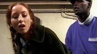 Swedish redhead teen takes black cock in train