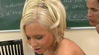 Nailing his cute blonde student from behind