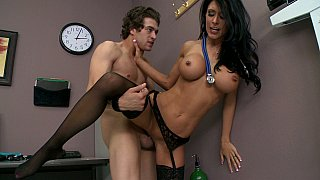 Long legged doctor with big tits