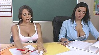 School orgy, 3 hot pussies share 2 cocks