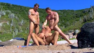 Horny Lea fucking three guys on the beach
