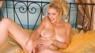 Busty Milf in Lingerie Rubbing Her Pussy