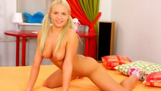 Fresh blondie gags on cock savagely and rides it