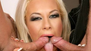 Hot blonde gets her holes plugged