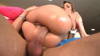 Anal slut Bailey Blue sliding her tight ass down his shaft