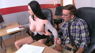 Busty student Loni Evans strokes Logan's cock while she copies his answers