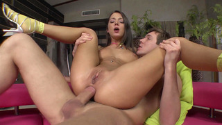 Foxy Di anally rides big cock, making her sphincter expand
