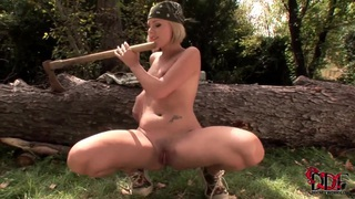 Zuzana Z. takes huge wooden hatchet helve in her innocent asshole