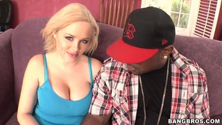Buxom blonde, Katie Kox, enjoys big and powerful black dick