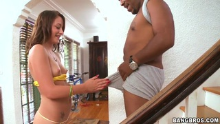 Teen whore Michelle Myers meets a huge black cock on her way!