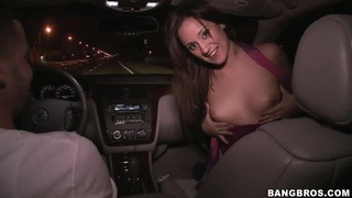 Brunette slut Lynn Love sucks cock in moving car