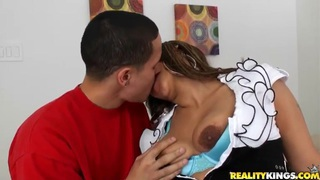 Sweet and appetizing Latina Lisa with beautiful curvaceous ass enjoys doggystyling