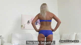 Blonde factory worker banged in casting