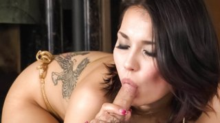 Popular Japanese hottie Maria Ozawa gives a cock a monster blowjob