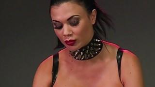 Hooded slave man licks her busty mistress Jasmine