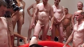 Extreme gangbang session for two horny whores