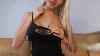 Busty blondie in sexy black lingerie teasing on cam