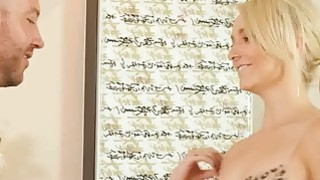 Sweet blondie looks desperate to suck a studs huge dong