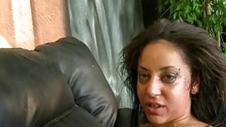 Latina smiles during break in gagging