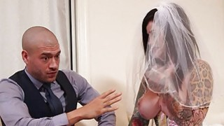 Busty emo in wedding dress deeply banged