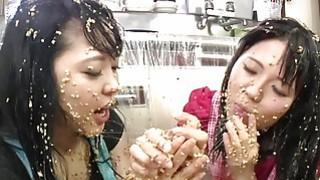 Subtitled extreme Japan natto sploshing lesbians