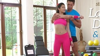 Teacher fucking Asian babe at yoga class