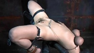 Tough gal in shackles receives her slit pumped
