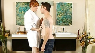Big tits redhead masseuse asshole banged by her client