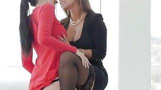 Slutty brunette lesbians licking cunts in orgy