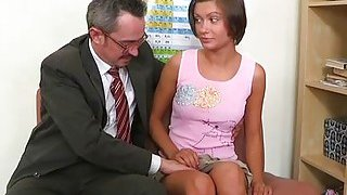 Old teacher is drilling sweet honey doggystyle
