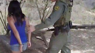 Busty dark haired babe banged at border outdoors