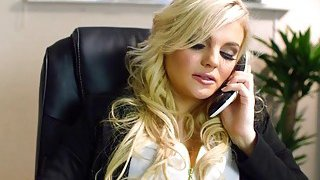 Blonde chick gets fucked by the IT guy in the office