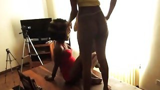 African babes sharing long white dong by banging