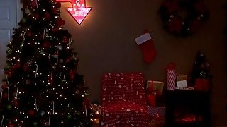 Big cocked Santa fucking MILF and Teen