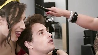 Nasty hairdressers fucks young cock in salon