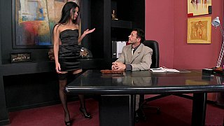 Brunette enjoys hot office sex