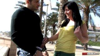 Sexy Lorena Fox gives a blowjob outdoor