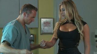 Gorgeous blonde visits handsome doctor and turns on for him
