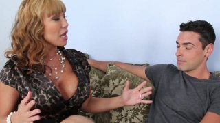 Curly chick Ava Devine provides a stiff dick with a stout blowjob