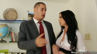 Shameless brunette hottie Brandy Aniston giving blowjob at the office