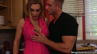 Gorgeous slut Tanya Tate having kitchen sex fun