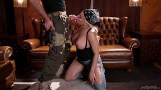 Military blonde is giving a great blowjob and rides him